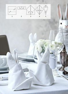 Easter Bunny from cloth napkins make table decorations for Easter create