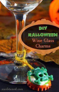 DIY Halloween Wine Glass Charms