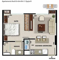 Small Apartment Plans, Apartment Floor Plans, Apartment Layout, Apartment Design, Small Tiny House, Tiny House Cabin, Small House Plans, House Floor Plans, Tiny Apartments