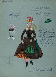Costume Designs - The Good Fairy Sketches of a costume by Berkeley Sutcliffe for The Good Fairy in the pantomime A Wish for Jamie. This opened at the Alhambra on 9 December 1960. There were two other pantos in the series, A Love for Jamie (1963) and The World of Jamie (1968 at the King's Theatre in Glasgow and 1969 at the King's Theatre in Edinburgh.) Special Collections Reference: STA Gz