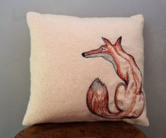 Gorgeous Free hand machine embroidered Fox cushion by The Speculating Rook on Etsy, such original designs 48GBP and free UK shipping!