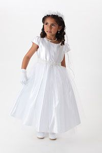 Flower Girl Dresses -   Girls Dress Style 559- Choice of White or Ivory Satin and Organza Dress with Sequin Waistband