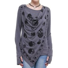 Womens Layered Shirring T-Shirt GRAY. This looks SO cozy!