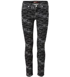 print jeans the skinny mit abstraktem muster in grauschwarz von 7 for - Jeans Mit Muster