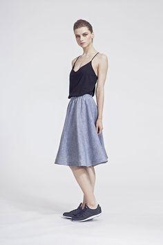 IMRECZEOVA SS16 black jersey top and grey linen skirt Linen Skirt, Ss16, Summer Dresses, Grey, Skirts, Black, Tops, Fashion, Summer Sundresses