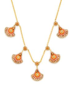 Coral  Gold Bib Necklace by Miguel Ases at Gilt