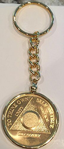 b4df8247b5e Amazon.com   Plain Face 24k Gold Plated AA Medallion In Keychain Removable  Sobriety Chip Holder   Office Products