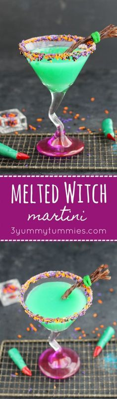This Melted Witch Martini is perfect for Halloween with a Twizzler broom for garish.