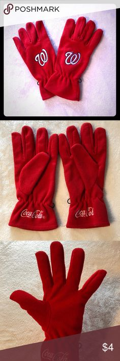 Red Washington Nationals Gloves Great used condition, red and white Washington Nationals 100% polyester fleece hand gloves. Coca Cola sponsorship at the bottom of the gloves. Washington Nationals Accessories Gloves & Mittens