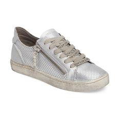 Women's Dolce Vita Zombie Sneaker (8.120 RUB) ❤ liked on Polyvore featuring shoes, sneakers, silver leather, leather shoes, metallic shoes, perforated sneakers, leather footwear and metallic sneakers