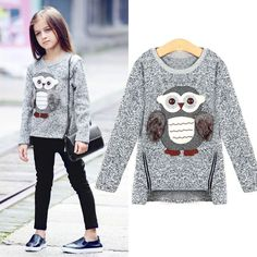 Cool Girls Fleece Lined Zipper sweater Cartoon Cute Owl Casual Cotton Girls Winter Clothes girls sweater for 6 7 8 9 10 12 14 years - $38.76 - Buy it Now!