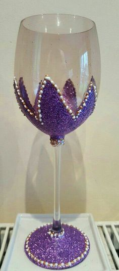 Purple glitter glass with white relief
