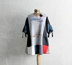 Image of London England Plus Size Tunic Upcycled Recycled Bohemian Top Loose Fitting 3X