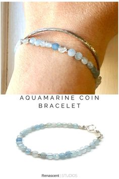 I'm in love with these coin shaped beads 😍 They are large enough to be noticed when stacked but not bulky looking and each of them is faceted so they catch the light beautifully❣️ 🌈 Click the pic to see this beauty. #renascentstudios #aqaumarine #aquamarinebracelet #aquamarinejewelry #gemstonebracelets #marchbirthstone #anniversaygifts #giftforwife #stackingbracelets #friendshipbracelet #crystalbracelet #stonebracelet #healingcrystals #giftforher #giftforgirlfriend #birthstonejewelry… Aquamarine Bracelet, Gemstone Bracelets, Gemstone Jewelry, Layered Jewelry, Trendy Jewelry, Coin Bracelet, Latest Jewellery, Birthstone Jewelry, Crystals And Gemstones