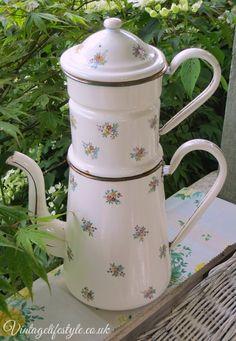 Vintage French enamel floral coffee pot