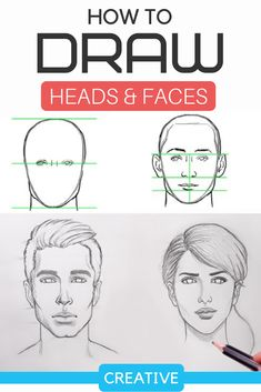 Drawing Sketch For Kids, Drawing Images For Kids, Drawing Faces For Beginners, Basic Drawing, Drawing Lessons, Drawing Guide, Color Mixing Chart Acrylic, Fashion Illustration Face, Drawing Heads