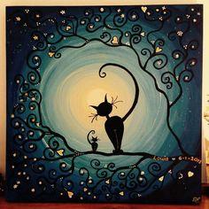 Afbeeldingsresultaat voor positivo y negativo arte con gatos Image Chat, Black Cat Art, Art Watercolor, Moon Art, Cat Drawing, Whimsical Art, Art Plastique, Crazy Cats, Painted Rocks