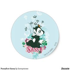 Pussyfoot Sassy Classic Round Sticker cat. Regalos, Gifts.