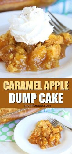 This Caramel Apple Dump Cake may just be the perfect fall dessert. The apple dump cake recipe is just 4 ingredients and I will walk you right through it. Caramel Apple Dump Cake, Apple Dump Cakes, Dump Cake Recipes, Caramel Apples, Apple Caramel, Yellow Cake Recipes, Caramel Apple Recipes, Spice Cake Mix Recipes, Caramel Cakes
