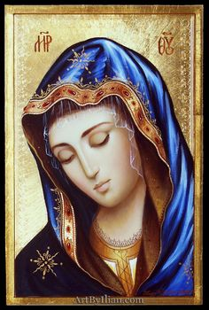 Blessed Mother Mary, painted by Ilian Rachov. Religious Images, Religious Icons, Religious Art, Mary Magdalene And Jesus, Mary And Jesus, Christian Drawings, Christian Art, Catholic Pictures, Jesus Pictures