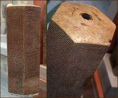 Taylor prism on display at the British Museum. Describes the Assyrian king Sennacherib's siege of Jerusalem in 701 BC during the reign of King Hezekiah, which is recorded by Herodotus and the Bible in Isaiah chapters 33 and 36; 2 Kings 18:17; 2 Chronicles 32:9. Photo by David Castor.