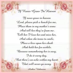 My Angel in Heaven Poem   ... View topic - Printable Tile: Poem If Roses Grow in Heaven (for Mother: