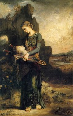 Gustave Moreau [French Symbolist Painter, Thracian Girl Carrying the Head of Orpheus on His Lyre, 1865 oil on canvas, 154 × Google Art Project, Dante Gabriel Rossetti, Greek And Roman Mythology, Pre Raphaelite, Romanticism, Fine Art, French Art, Oeuvre D'art, Art Google
