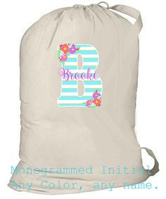 College Laundry Bag Personalized Laundry Bag by ColorStyleDesign Laundry Bags, Grad Gifts, College, Monogram, Trending Outfits, Unique Jewelry, Handmade Gifts, Etsy, Kid Craft Gifts