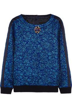 J.Crew Delphinium crystal-embellished jacquard sweatshirt NET-A-PORTER.COM