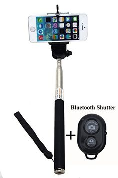 UFCITTM Extendable Self Portrait Selfie Handheld Stick Monopod with Smartphone Adajustable Phone Holder and Bluetooth Remote Wireless Shutter for iPhone Samsung and other IOS and Android Smartphone (Black with Shutter) UFCIT http://www.amazon.com/dp/B00LEFRRQK/ref=cm_sw_r_pi_dp_ZmHTtb082E84DPBV