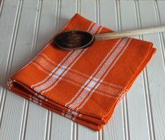Handwoven tea towel / orange citrus white homestead plaid / handmade kitchen towel by NutfieldWeaver on Etsy, $20.00