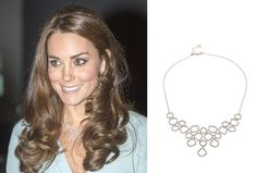 Kate Middleton, Duchess of Cambridge wears Monica Vinader Riva diamond Bib necklace