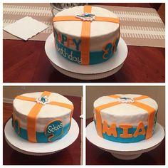 Miami Dolphins Birthday Cake- 3 layer cake with Fondant #rookiecake