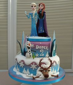 Disney Themed Cakes - Disneys Frozen Cake ~Choc Swirl and Strawberry swirl madeira cake with removable cake topper by Junikraft Novelty Cakes
