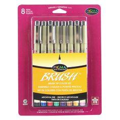 Sakura® Pigma® Brush Pen Set, Assorted Colors, 8 Pieces