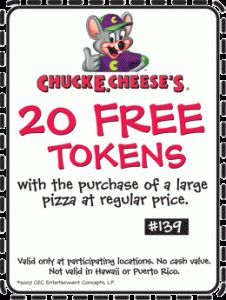 Chuck E Cheese does not charge for rescheduled events. 7. You can get free tokens when you bring in your kid's report card. The Tokens For Grades Program will reward you with up to 10 bonus tokens when you purchase one food item. 8. Look for Chuck E Cheese printable coupons from your nearby location to save money.