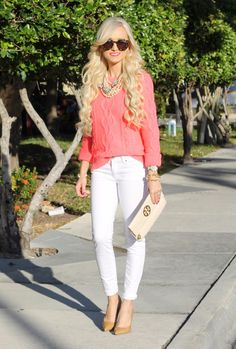 Sweater: Gap and love this and this, Denim Jacket: similar here Jeans: Gap, Shoes: Kate Spade, Clutch: Tory Burch (zoo old) love this and this, Necklace: J.Crew, A Modern Boutique c/o, Sunglasses: Karen Walker, Lips: Mac Impassioned, Bellami Hair extensions
