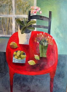 Este MacLeod 'Red table' 90x120cm. Acrylic on wood.