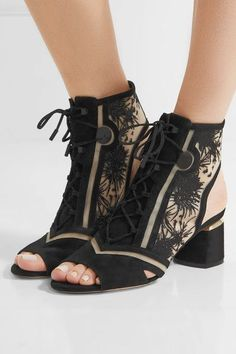 Nicholas Kirkwood - Phoenix Cutout Embroidered Mesh And Suede Sandals - Black