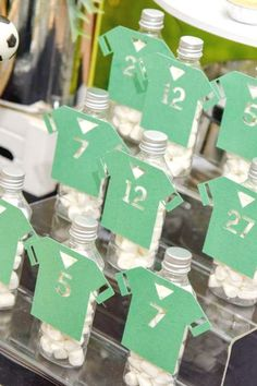 Check out this cool soccer-themed birthday party! The soccer shirt party favors are… - Trending Ideas Boys 1st Birthday Party Ideas, 1st Boy Birthday, Birthday Party Favors, Birthday Party Decorations, Soccer Party Favors, Diy Party Supplies, Party Fun, Shirt, Check