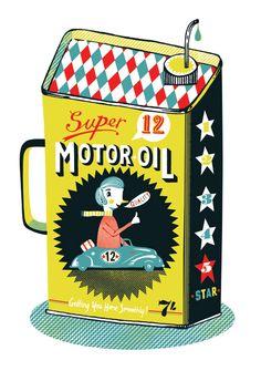 Vintage Motor Oil Can Tom Frost. Artmarket illustration -