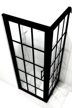 Divided Light Black Frame Corner Panel Shower Door with Grids - Gridscape Series 1 by Coastal Shower Doors Corner Shower Doors, Glass Shower Doors, Shower Screens, Shower Pan Sizes, Coastal Shower Doors, Small Showers, Shower Units, Shower Surround, Custom Shower