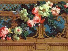 Panel of wallpaper a pattern of flowers balustrade  Desfossé, Paris, ca 1865