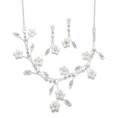 Pearl Daisy Bridal Necklace Set