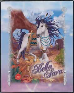 bella sara horses | Bella Sara Horses 4 pocket portfolio (White Horse)