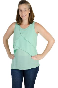 Yay for a breastfeeding shirt that you can (and will) wear long after your breastfeeding days are over! This shirt is perfectly light with great pull up feeding access. The nursing top is made almost