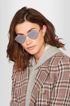 Le Specs - Bazaar Cat-eye Silver-tone Mirrored Sunglasses - one size