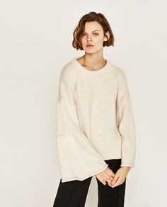 Image 2 of BELLED SLEEVE OVERSIZED SWEATER from Zara