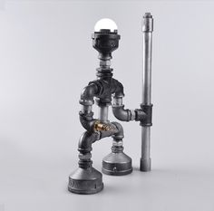 Antique Iron Water Pipe Tube Desk Lamp steampunk (3000.00 CZK) by lightisgood