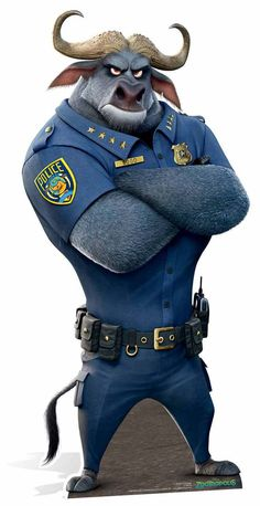 Chief Bogo is a major protagonist of Zootopia. He is a cape buffalo and the chief of the Zootopia Police Department. He is voiced by Idris Elba, who also portrayed Heimdall in the Marvel Cinematic Universe. Zootopia Characters, Zootopia Movie, Cartoon Characters, Zootopia Chief Bogo, Disney Zootropolis, Character Art, Character Design, Heroes Wiki, Zootopia